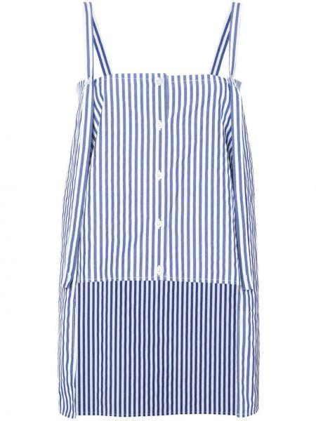 Однобортная синяя рубашка с нашивками Dresshirt