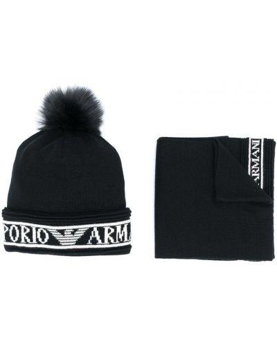 Тонкая черная шерстяная кепка Emporio Armani Kids