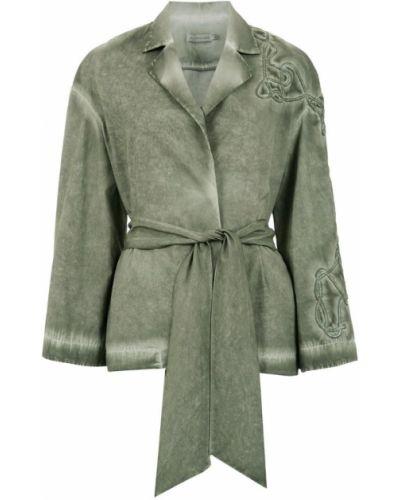 Коралловое длинное пальто с вышивкой с поясом Mara Mac