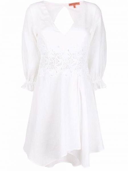 Пышное белое платье с вырезом Ermanno Scervino