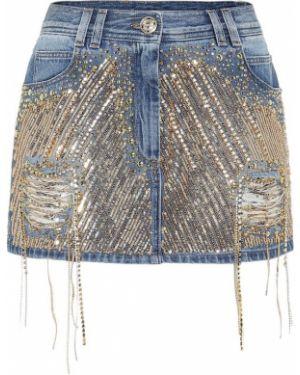 Юбка мини юбка-колокол джинсовая Balmain