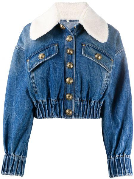 Синяя джинсовая куртка на кнопках с манжетами с воротником Balmain