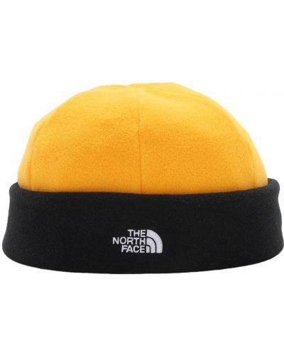 Желтая шапка бини с вышивкой The North Face