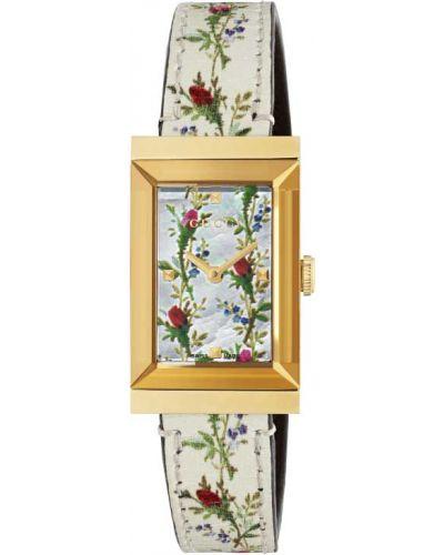 С ремешком белые кожаные часы на кожаном ремешке Gucci