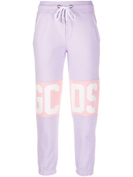 Fioletowe spodnie bawełniane z printem Gcds