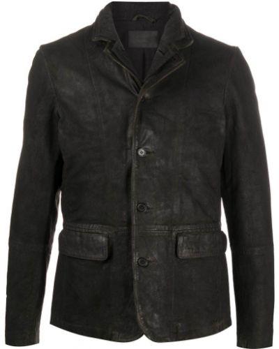 Серый кожаный удлиненный пиджак с воротником Allsaints
