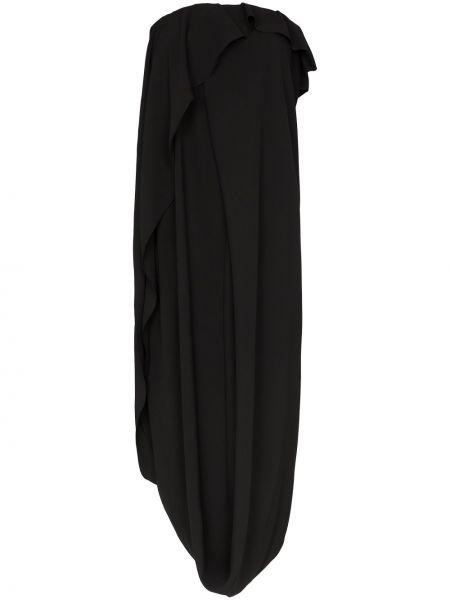 Черное драповое приталенное платье миди Poiret