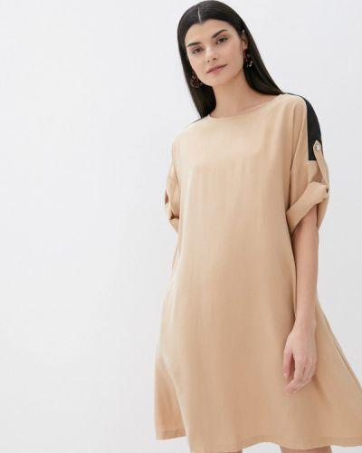 Прямое бежевое платье А-силуэта United Colors Of Benetton