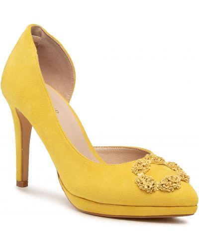 Żółte półbuty eleganckie skorzane Menbur