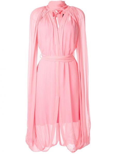 Розовое расклешенное платье миди с воротником с поясом Kitx