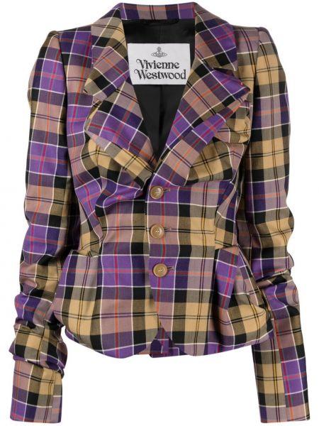 Фиолетовый шерстяной удлиненный пиджак в клетку Vivienne Westwood