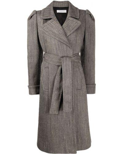 Шерстяное белое длинное пальто с запахом Philosophy Di Lorenzo Serafini