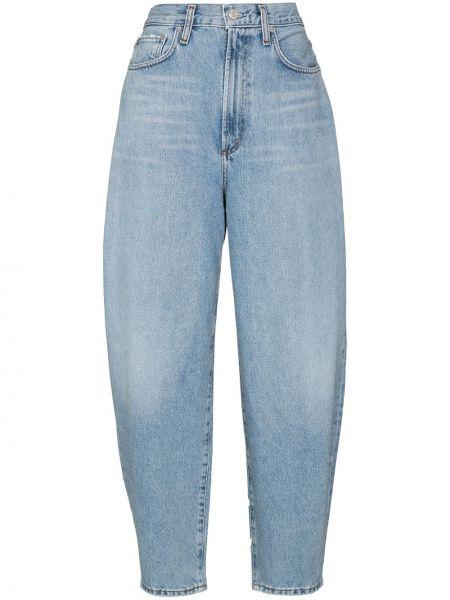 Bawełna niebieski rozbłysnął jeansy na wysokości z kieszeniami Agolde