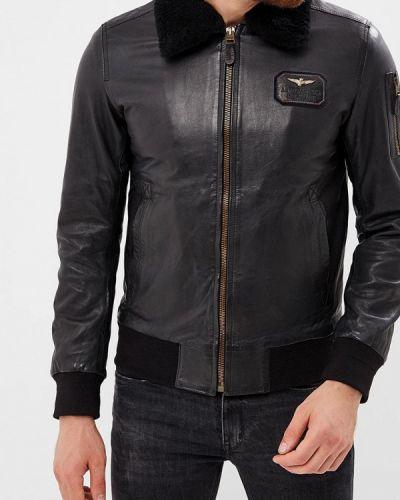 Кожаная куртка черная осенняя Aeronautica Militare