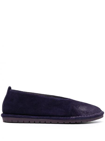 Фиолетовые кожаные балетки без застежки Marsèll