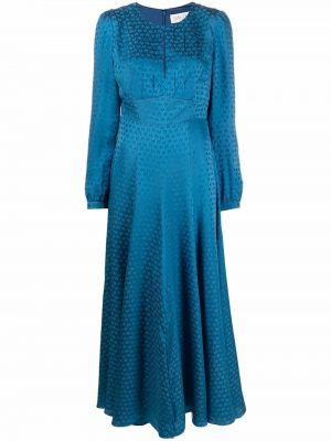 Niebieska sukienka długa z jedwabiu Saloni