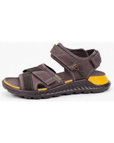 Коричневые сандалии из нубука Ecco
