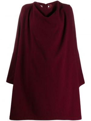Красное шерстяное длинное пальто с капюшоном Yohji Yamamoto Pre-owned