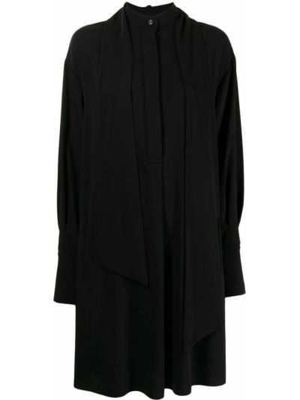 Czarna sukienka rozkloszowana z długimi rękawami Barbara Bui