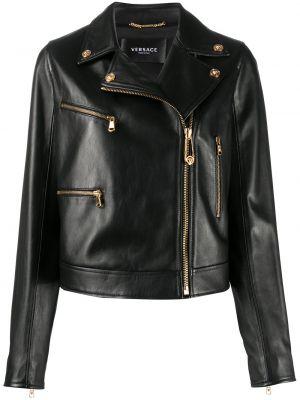 Черная кожаная куртка байкерская Versace