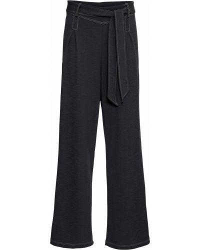 Свободные брюки с поясом черные Bonprix