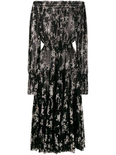 Платье с поясом с цветочным принтом сетчатое Norma Kamali