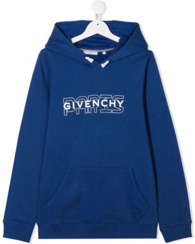 Хлопковая синяя толстовка с капюшоном Givenchy Kids
