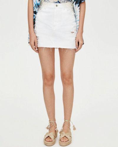 Джинсовая юбка белая осенняя Pull&bear