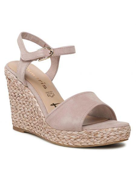Sandały espadryle - różowe Tamaris