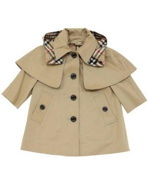Beżowy płaszcz z kapturem bawełniany Burberry