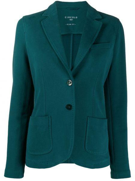 Зеленый однобортный удлиненный пиджак с карманами Circolo 1901