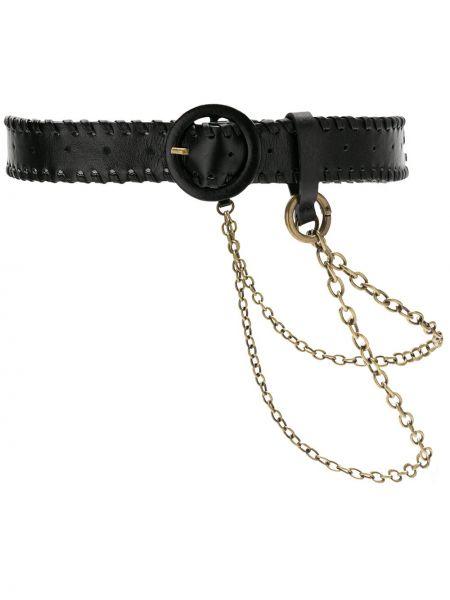 Кожаный черный ремень с пряжкой с поясом НК