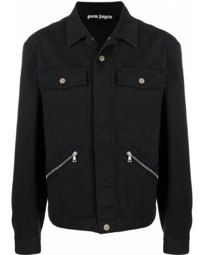 Klasyczna czarna długa kurtka bawełniana Palm Angels