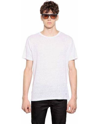 Biały t-shirt z haftem April 77