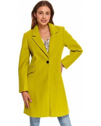 Żółty długi płaszcz zapinane na guziki z długimi rękawami Top Secret