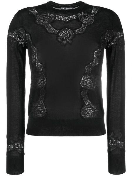 С рукавами шелковая черная блузка Dolce & Gabbana