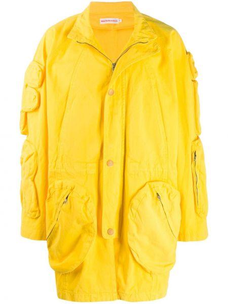 Хлопковое желтое длинное пальто с воротником с рукавом реглан Walter Van Beirendonck Pre-owned