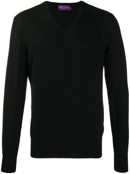 Czarny kaszmir pulower z dekoltem w szpic z długimi rękawami Ralph Lauren