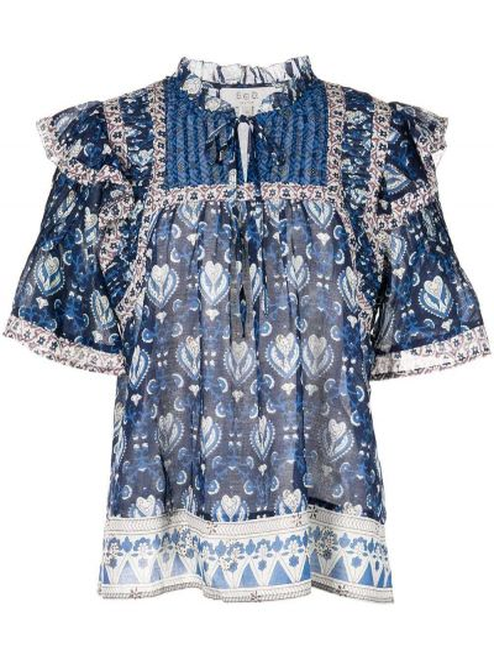 Синяя блузка с завязками с оборками Sea