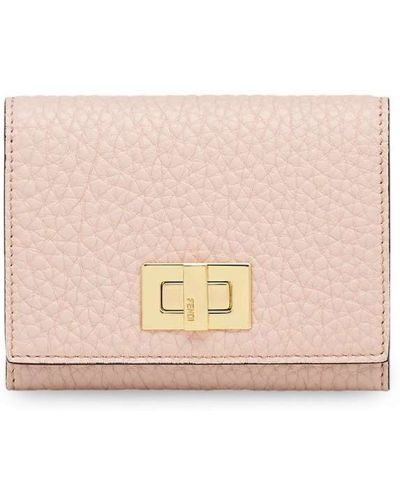 Золотистая розовая кожаная визитница Fendi
