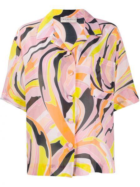 Хлопковая розовая рубашка с короткими рукавами Emilio Pucci