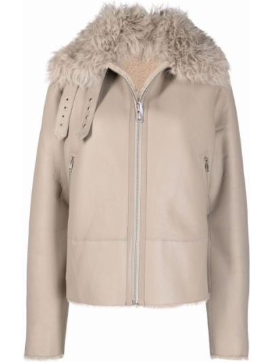 Кожаная куртка длинная - бежевая Liska