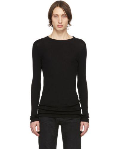 Bawełna bawełna z rękawami czarny koszula Saint Laurent