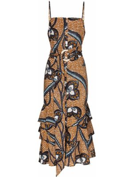 Тонкое платье на пуговицах на бретелях в морском стиле Figue