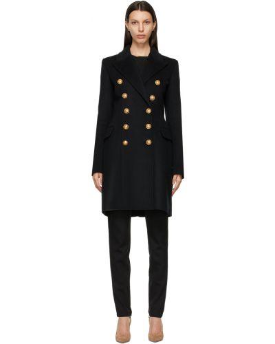 Черное пальто с воротником Balmain