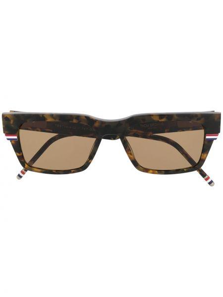 Коричневые прямые солнцезащитные очки прямоугольные Thom Browne Eyewear