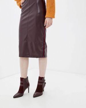 Кожаная юбка бордовый красный Aelite