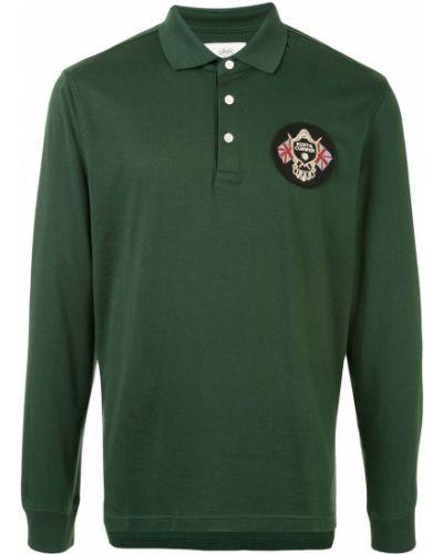 Зеленая рубашка с воротником с нашивками на пуговицах Kent & Curwen