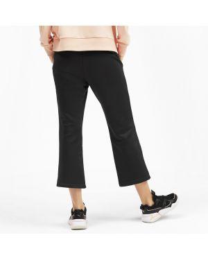 Махровые расклешенные укороченные брюки винтажные с поясом Puma