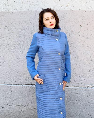 Кашемировое пальто - голубое Khan